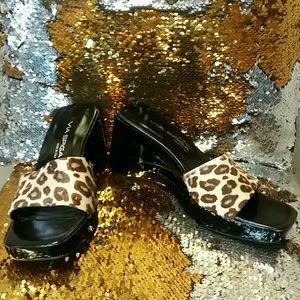 Via Spiga Lucite Slides Leopard Pony Hair Platform